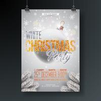 Ilustração branca do inseto da festa de Natal com elementos da tipografia e bola brilhante decorada no fundo brilhante. Vector Design de cartaz de celebração.