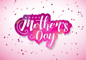 Happy Mothers Day Greeting card with hearth and typographic design on pink background. Vector Celebration Illustration template for banner, flyer, invitation, brochure, poster.