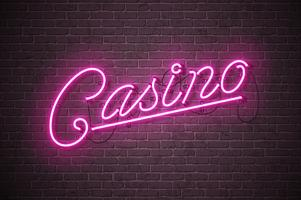 Casino neon sign illustration on brick wall background. Vector light banner or bright signboard design.