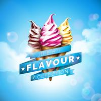 Illustrazione del gelato con il dessert delizioso e nastro identificato sul fondo del cielo blu. Modello di disegno vettoriale per banner promozionale o poster con vaniglia, cioccolato, pugno.