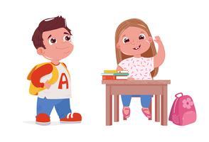 Boy wearing backpack & girl raising hand at school desk