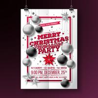 Vector Merry Christmas Party Flyer Illustration with Typography and Holiday Elements on White background. Invitation Poster Template.