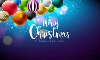 Vector Merry Christmas-illustratie met veelkleurige sierballen op glanzende blauwe achtergrond. Gelukkig Nieuwjaar ontwerp voor wenskaart, Poster, Banner.