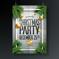 Projeto da festa de Natal feliz do vetor com elementos da tipografia do feriado e as bolas decorativas, estrela de papel do entalhe, ramo do pinho no fundo limpo. Ilustração de Flyer de celebração. EPS 10