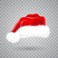 Christmas illustration with red santa hat on transparent background. Isolated vector object.