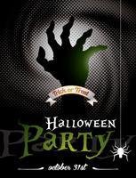 Ilustración del vector en un tema del partido de Halloween en fondo oscuro.