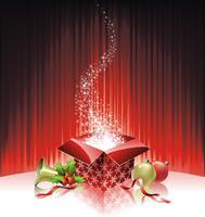 Vector l'illustrazione di Natale con il contenitore di regalo su fondo rosso