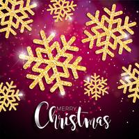 Vector Christmas Illustration with Typography and Shiny Gold Snowflake on Red Lighting Background. Vector Holiday Design.