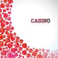Casino illustration med flytande tärningar på vit bakgrund. Vektor spelande isolerat designelement.