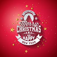 Merry Christmas Typography Illustration with 3d Holiday Element and Long Shadow on Shiny Red Background. Vector Design for Greeting Card, Party Invitation Poster or Promo Banner.