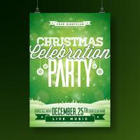 Vector el ejemplo del aviador de la fiesta de Navidad feliz con tipografía y los elementos del día de fiesta en fondo verde. Plantilla del cartel de la invitación del paisaje del invierno