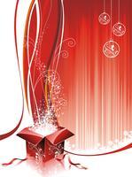 Disegno vettoriale di Natale con scatola regalo su sfondo rosso.