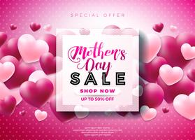 Mothers Day Sale Greeting card design with flower and typographic elements on abstract background. Vector Celebration Illustration template for banner, flyer, coupon, voucher, poster.