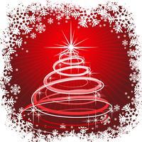 Illustrazione di Natale con albero astratto su sfondo rosso