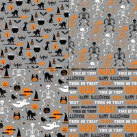 Halloween patterns on gray backgrounds
