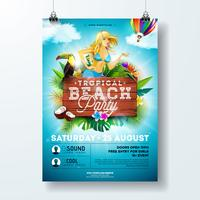 Vector Summer Beach Party Flyer Design con ragazza sexy ed elementi tipografici