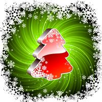 Vector Holiday illustration with shiny 3d Christmas tree on green background.