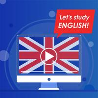 Web site on studying English online vector