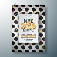 2018 New Year Party Celebration Poster Template Illustration with Shiny Gold Number on Abstract Black and White Background. Vector Holiday Premium Invitation Flyer or Promo Banner.