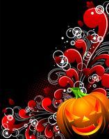 Vektor-Illustration zu einem Halloween-Thema mit Kürbis und Blumenmotiven