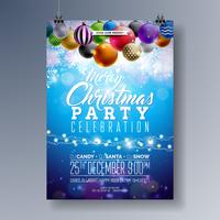 Projeto de Fliyer da festa de Natal alegre com elementos da tipografia do feriado e as bolas decorativas multicoloridos no fundo brilhante. Ilustração de cartaz de celebração de vetor Premium.