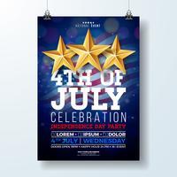 Dia da independência do EUA festa Flyer ilustração com bandeira e fita. Vector o quarto do projeto de julho no fundo escuro para o cartaz da bandeira, do cartão, do convite ou do feriado da celebração.