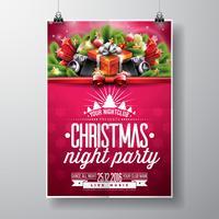 Projeto da festa de Natal feliz do vetor com elementos da tipografia do feriado e oradores no fundo brilhante.