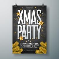 Vector l'illustrazione dell'aletta di filatoio del partito di Buon Natale con gli elementi di tipografia di festa e la palla ornamentale dell'oro, stella di carta del ritaglio su fondo nero. Celebration Poster Design. EPS10.