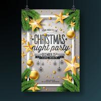 Diseño del aviador de la fiesta de Navidad del vector con los elementos de la tipografía del día de fiesta y la bola ornamental, rama del pino en fondo ligero brillante.