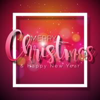 Merry Christmas and Happy New Year Illustration on Shiny Red Background with Typography and Holiday Elements, Vector EPS 10 design.