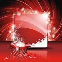 Illustrazione di Natale con scatola regalo magico su sfondo rosso