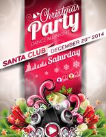 Vector Christmas Party design with holiday typographiy elements on red background.
