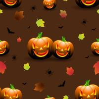 Halloween seamless pattern illustration with pumpkins scary faces and autumn leaves on dark background.