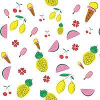 sommarmönster bakgrund med frukter och blommiga element i memphis stil
