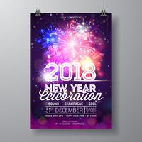 2018 New Year Party Celebration Poster Illustration with Typography Design and Firework on Shiny Colorful Background. Vector Holiday Premium Invitation Flyer Template or Promo Banner.