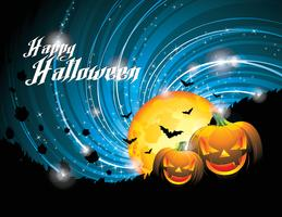 Vector Halloween Party Background with Pumpkins and Moon