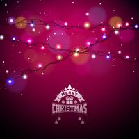 Glowing Colorful Christmas Lights for Xmas Holiday and Happy New Year Greeting Cards Design on Shiny Red Background.