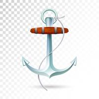 Ships anchor and rope isolated on transparent background. Detailed vector illustration for your design.