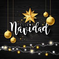 Julillustration med spanska Feliz Navidad Typografi och Gold Cutout Paper Star, Glasboll på Svart Vintage Wood Background. Vector Holiday Design