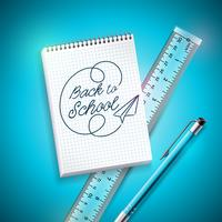 Retour à la conception de l'école avec un stylo, une règle et un cahier sur fond bleu. Illustration vectorielle avec main lettrage pour carte de voeux, bannière, flyer, invitation, brochure ou affiche promotionnelle.