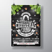 Vector Merry Christmas Party design con elementi di tipografia vacanza e stelle lucenti su fondo di legno dell'annata.