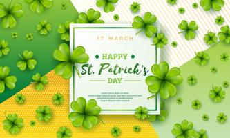 Vector illustration of Happy Saint Patricks Day with Green Falling Clover on Abstract Background. Irish Beer Festival Celebration Holiday Design with typography and Shamrock
