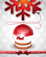 Vector Christmas illustration with magic snow globe and typographic design on snowflakes background.