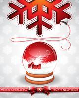 Vectorkerstmisillustratie met magische sneeuwbol en typografisch ontwerp op sneeuwvlokkenachtergrond.