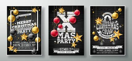 Vector Merry Christmas Party Flyer Illustration with Gold Cutout Paper Star, Glass Ball and Typography Element on Black Vintage Wood Background. Invitation Poster Template Set of Three Variation.