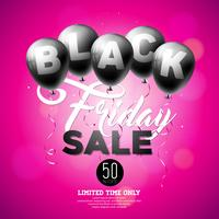 Black Friday Sale Vector Illustration with Shiny Balloons on Violet Background.