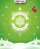 Vector Christmas illustration with typographic design and ribbon on landscape background.