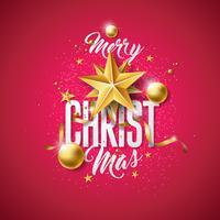 Vector Illustration de joyeux Noël avec boule de verre doré, étoiles papier découpé et éléments de typographie sur fond rouge Conception de vacances pour carte de voeux Premium, invitation à la fête ou bannière promotionnelle.