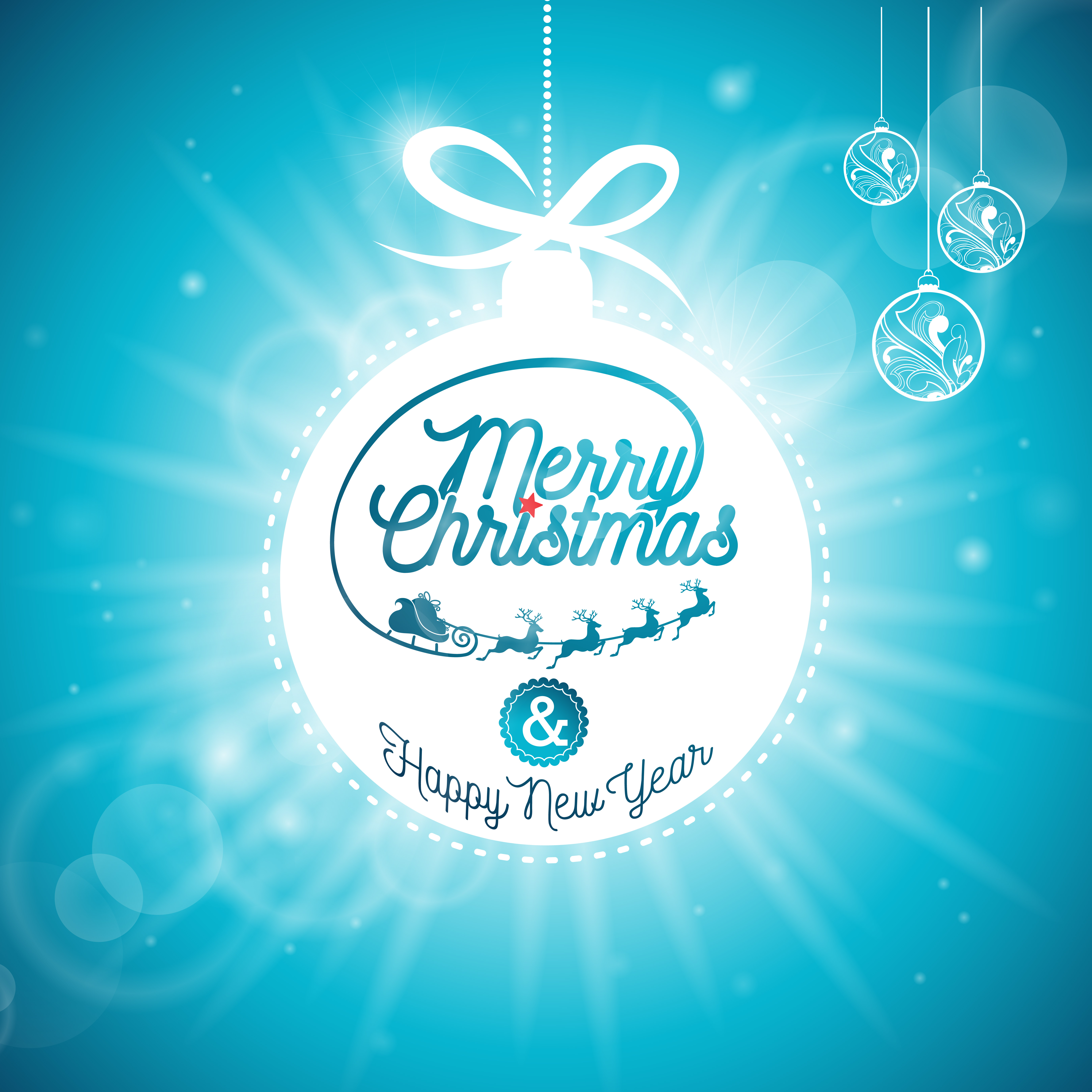 047e1b8589fad Vector Merry Christmas Holidays and Happy New Year illustration with  typographic design