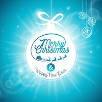 Vector Merry Christmas Holidays and Happy New Year illustration with typographic design